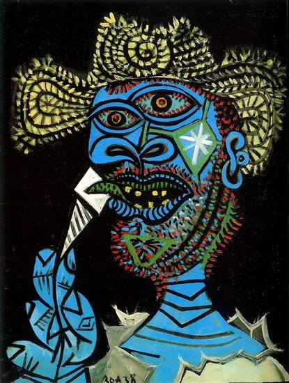 Picasso - Homme au chapeau de paille et au cornet de glace